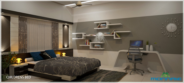 Indian Contemporary Design Chambre moderne par Monnaie Architects & Interiors Moderne
