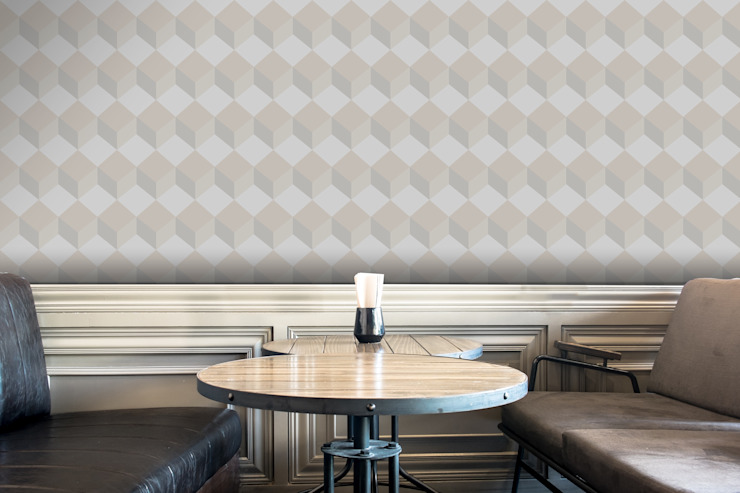 Cubo Bege Claro por OH Wallpaper Moderno Papel