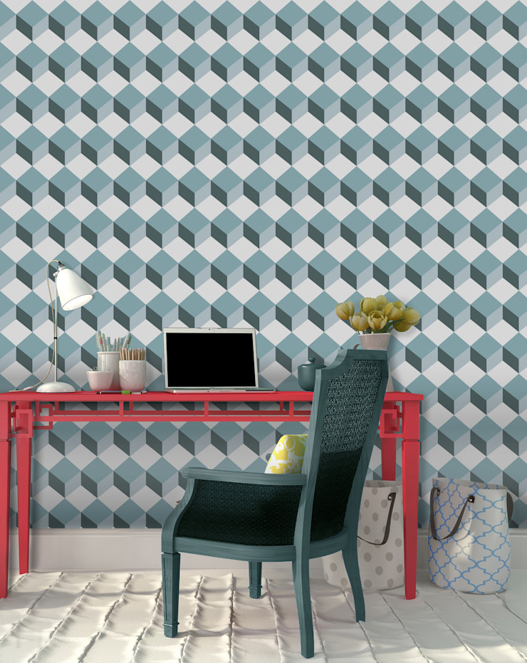 Cubo Azul Petróleo por OH Wallpaper Moderno Papel