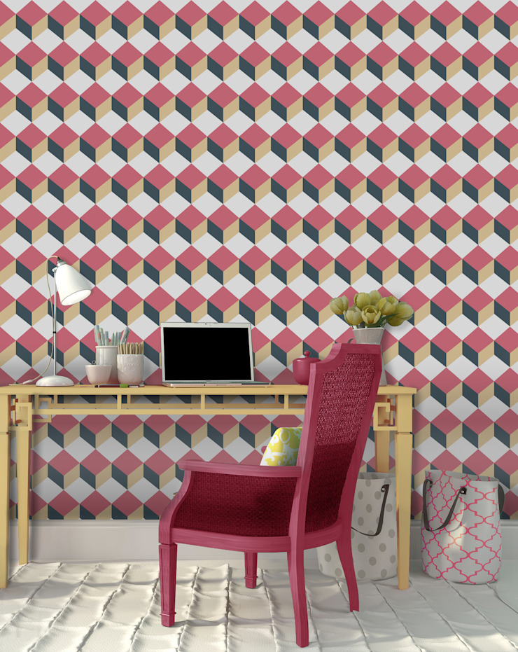 Cubo Rosa e Azul por OH Wallpaper Moderno Papel