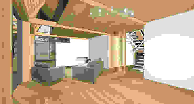 houten vakantiehuis aan zee Moderne woonkamers van hans moor architects Modern Hout Hout