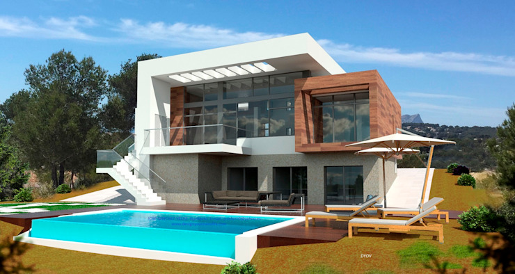 J44 DYOV STUDIO Arquitectura, Concepto Passivhaus Mediterraneo 653 77 38 06 Casas de estilo mediterráneo Madera Blanco