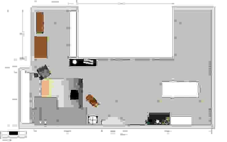 Plattegrond Industriële woonkamers van Studio Mind Industrieel