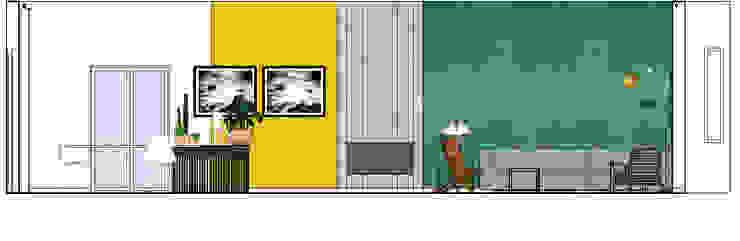 wandaanzicht Industriële woonkamers van Studio Mind Industrieel