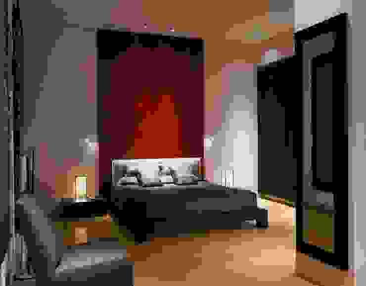 寝室 赤いポリッシュプラスターのZenスタイル 澤山乃莉子 DESIGN & ASSOCIATES LTD. オリジナルスタイルの 寝室