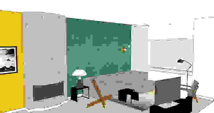 Woonkamer 3D visual Industriële woonkamers van Studio Mind Industrieel