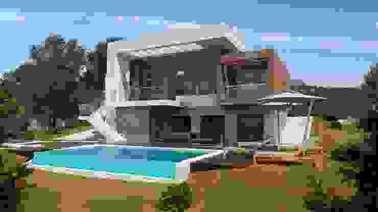 J44 Casas de estilo mediterráneo de Estudio de Arquitectura, Interiorismo, Decoración y Urbanismo. 968 73.00.53 Mediterráneo Caliza