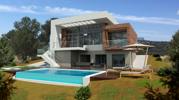 J44 Casas de estilo mediterráneo de Estudio de Arquitectura, Mediterranean Passivhaus Concept. e Interiorismo, Urbanista. 968 73.00.53 Mediterráneo Caliza