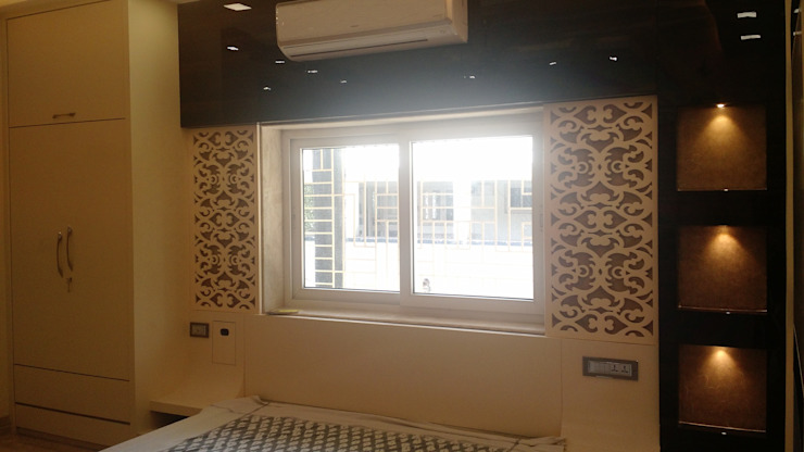 Bed headboard With Sheik Moroccan Fret Work Panel: modern  by Artinsive Interiors Pvt Ltd,Modern Plywood