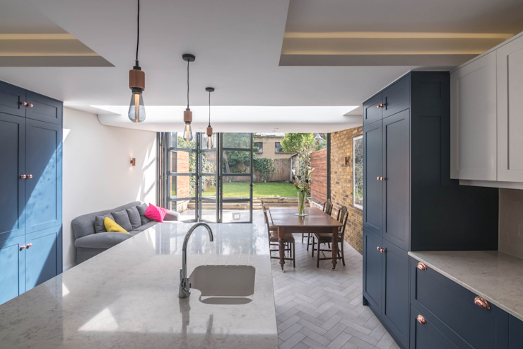 East Dulwich 1 Proctor & Co. Architecture Ltd Industrial style kitchen Bricks Blue
