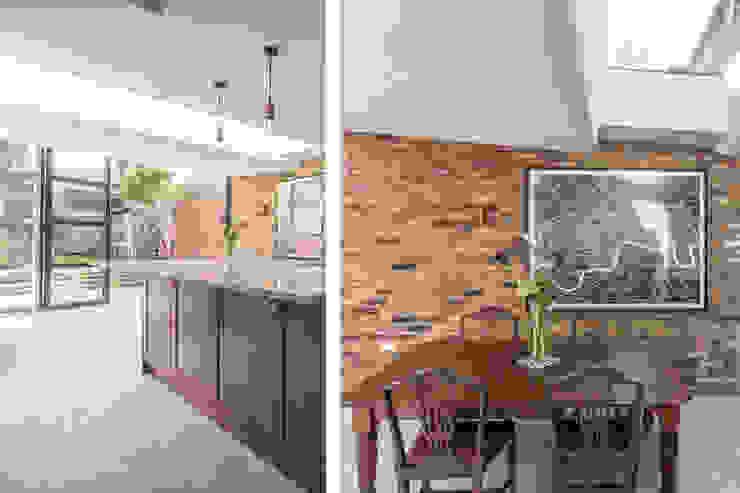 East Dulwich 1 Proctor & Co. Architecture Ltd Modern kitchen Bricks Blue