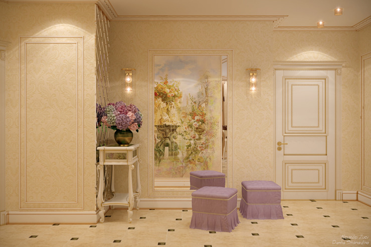 """Дизайн кухни-гостиной и прихожей в классическом стиле в квартире в ЖК """"Большой"""" Коридор, прихожая и лестница в классическом стиле от Студия интерьерного дизайна happy.design Классический"""