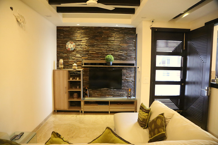 lobby lcd unit:  Living room by Aayam Consultants,Modern
