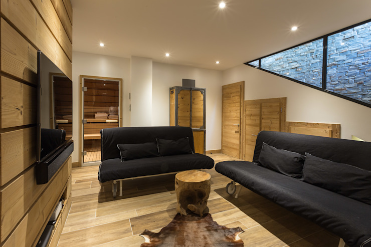 Modern Living Room by Chevallier Architectes Modern Wood Wood effect