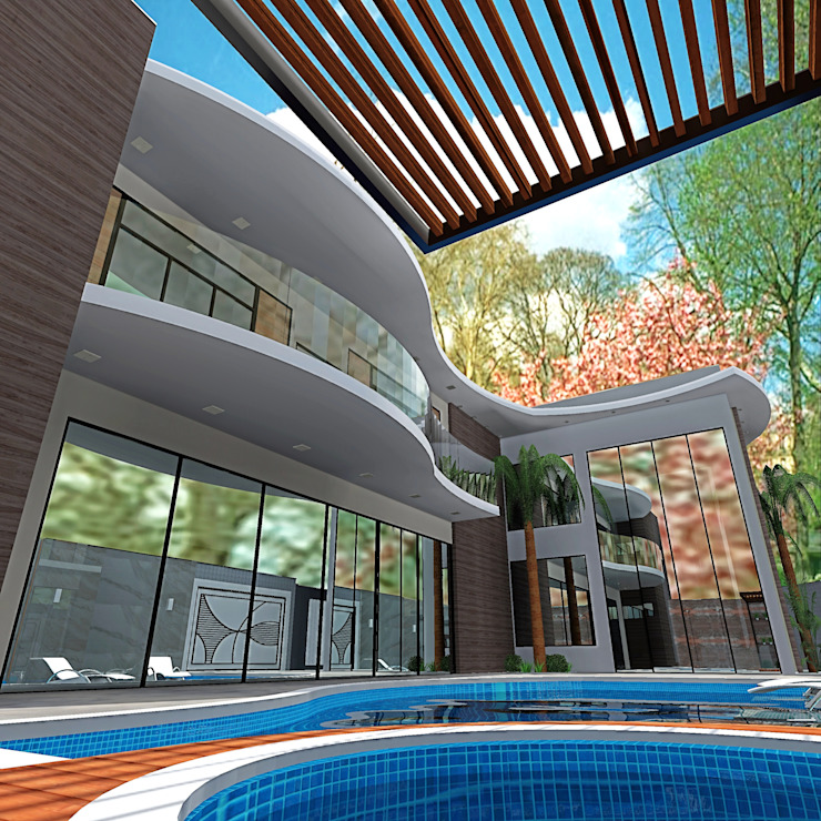 Curvas que definem estética: Casas  por alessandra_arquiteta