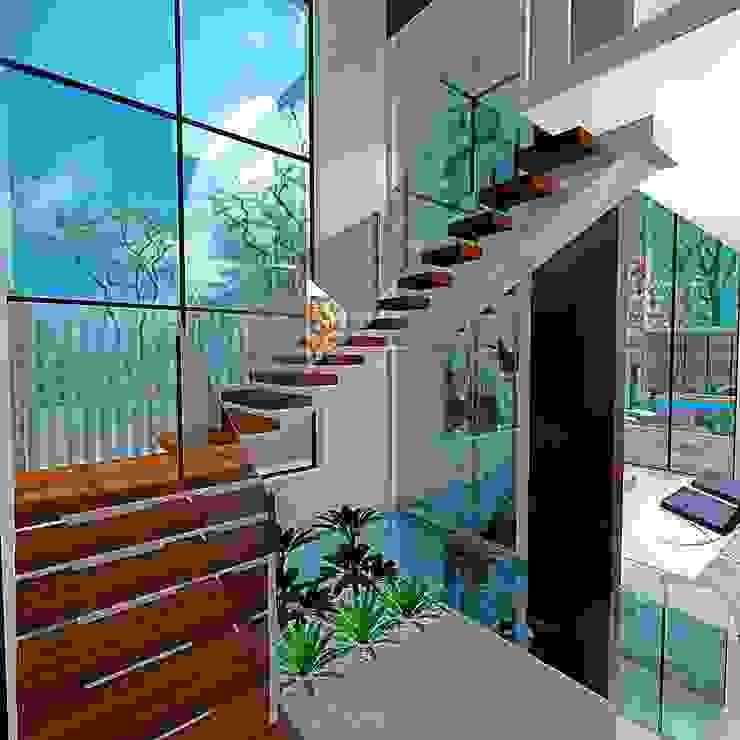 Escada e Cascata de vidro: Corredores e halls de entrada  por alessandra_arquiteta