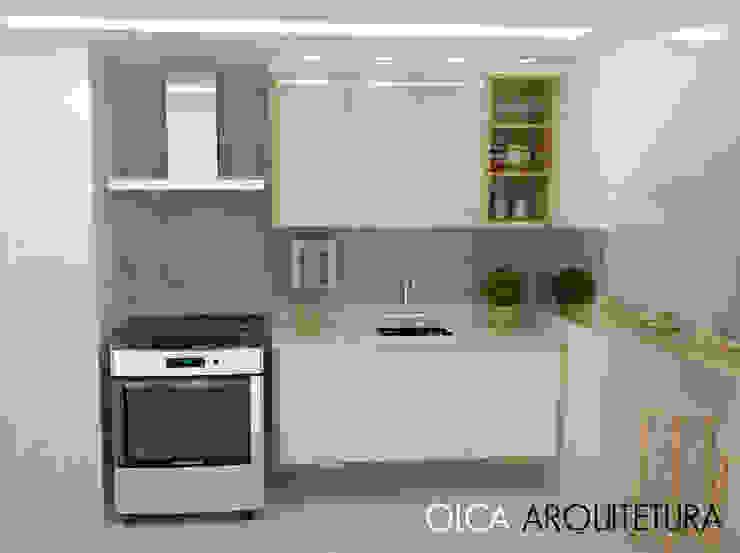 Cozinha Branca de Olca Arquitetura Minimalista Madera Acabado en madera