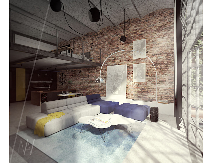 Industrial style living room by AAW studio Industrial