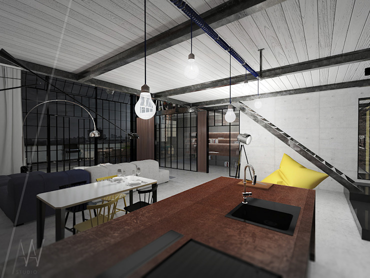Industrial style kitchen by AAW studio Industrial