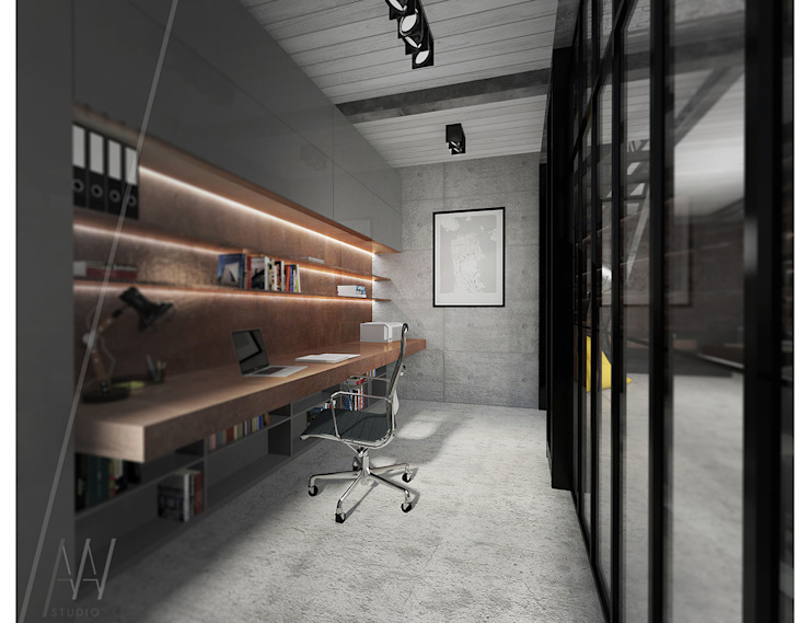 Industrial style study/office by AAW studio Industrial