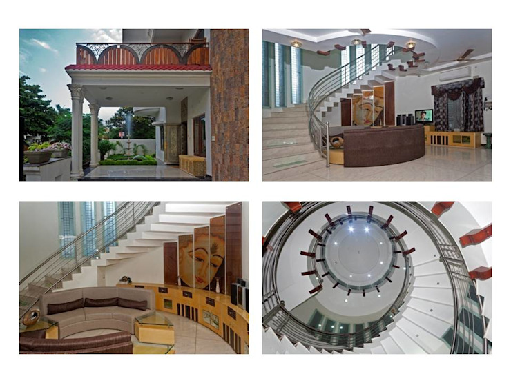 bungalows project views Modern corridor, hallway & stairs by Gupta's associated architects Modern