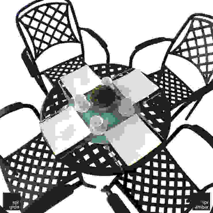 New Port Bistro Set - 4 kişilik SPR AMBAR Bahçe Mobilyaları Endüstriyel