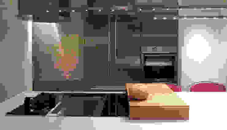 Detalle de los 3 módulos de coccion Cocinas de estilo minimalista de Daifuku Designs Minimalista