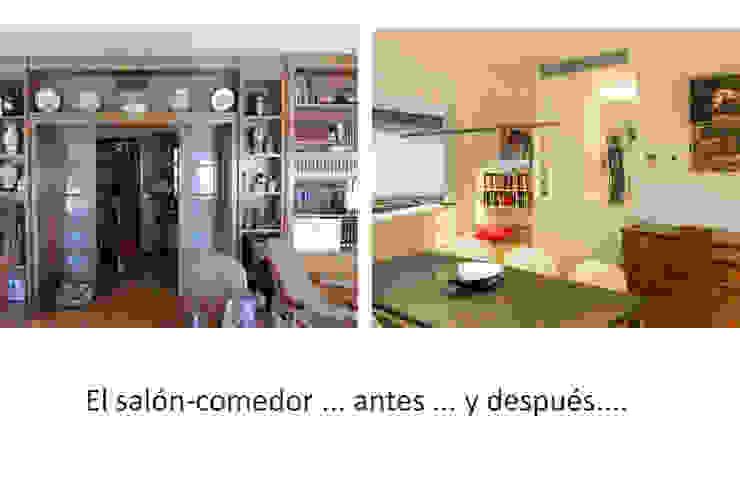 Salón comedor antes y despues Salones de estilo minimalista de Daifuku Designs Minimalista
