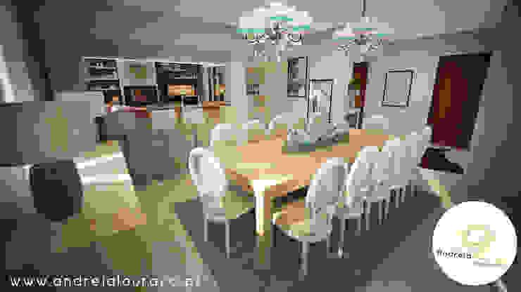 Projecto - Salas, Balcão e Entrada Salas de jantar modernas por Andreia Louraço - Designer de Interiores (Contacto: atelier.andreialouraco@gmail.com) Moderno
