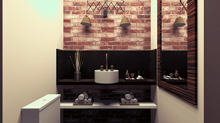 MV Arquitetura e Design BathroomDecoration Batu Bata Wood effect