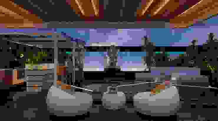 Apartment with a Terrace Modern balcony, veranda & terrace by Aijaz Hakim Architect [AHA] Modern
