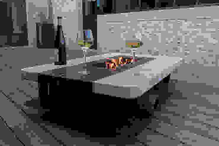 Braséro de terrasse en métal et pierre CLF Création JardinMeubles