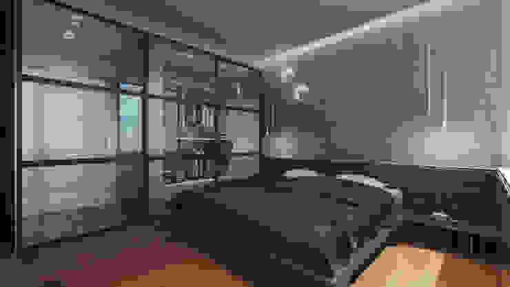 la suite con cabina armadio architetti:sabrina romani, cosimino casterini, stefania palanca Camera da letto moderna Legno massello Grigio