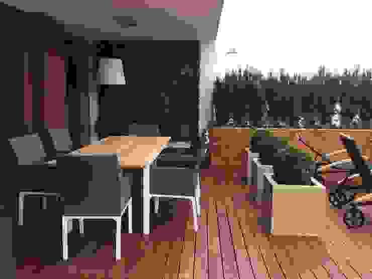 Stefa jadalniana Nowoczesny balkon, taras i weranda od Fabryka-ogrodów s.c. Nowoczesny Drewno O efekcie drewna
