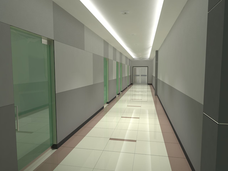 Seemann SA. de CV. Pasillo Interior Pasillos, vestíbulos y escaleras industriales de FyA Arquitectos Industrial