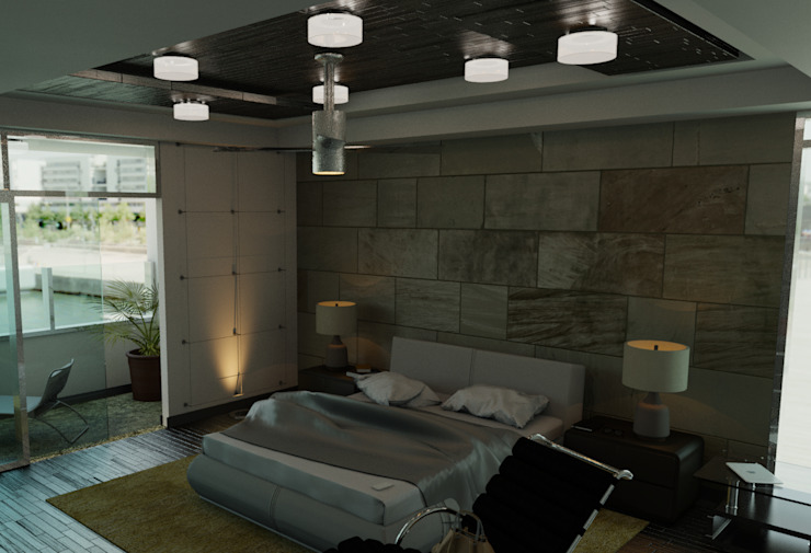 FyA Arquitectos Modern style bedroom Stone Brown