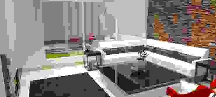 FyA Arquitectos Modern living room Marble White
