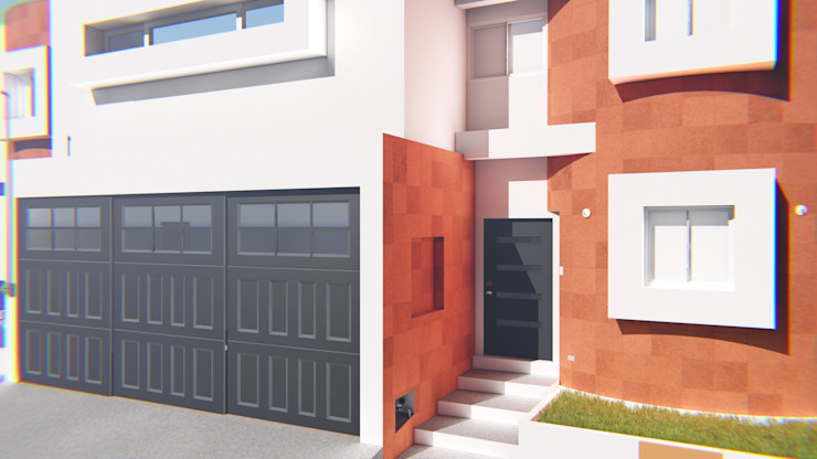 Fachada Casa Sr. Rubén. FyA Arquitectos Casas modernas Piedra Naranja