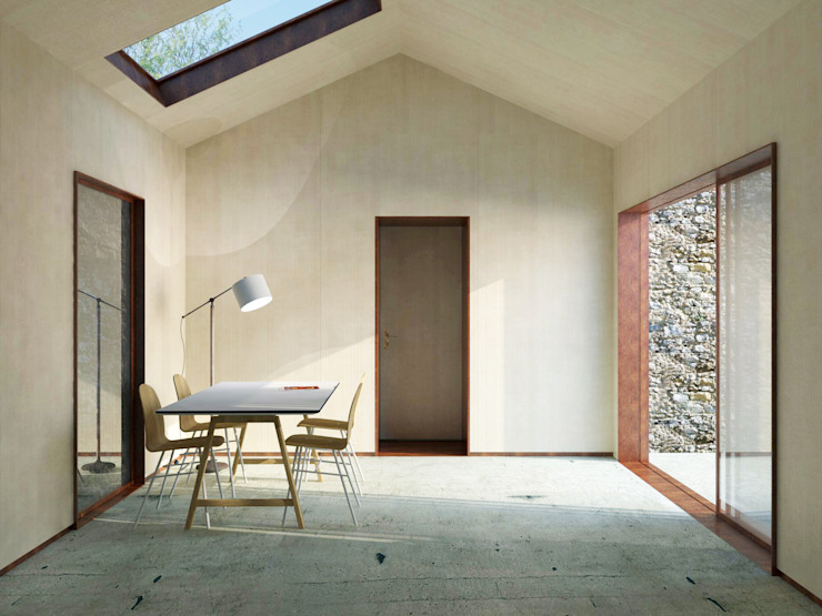 Espaços de trabalho minimalistas por Belle Ville Atelier d'Architecture Minimalista