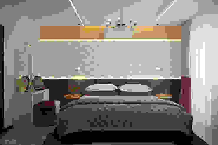 Дизайн спальни в современном стиле в ЖК по ул. Казбекская Спальня в стиле минимализм от Студия интерьерного дизайна happy.design Минимализм