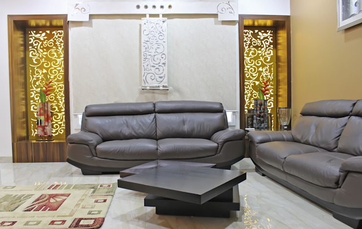 Duplex at Indore Asian style living room by Shadab Anwari & Associates. Asian