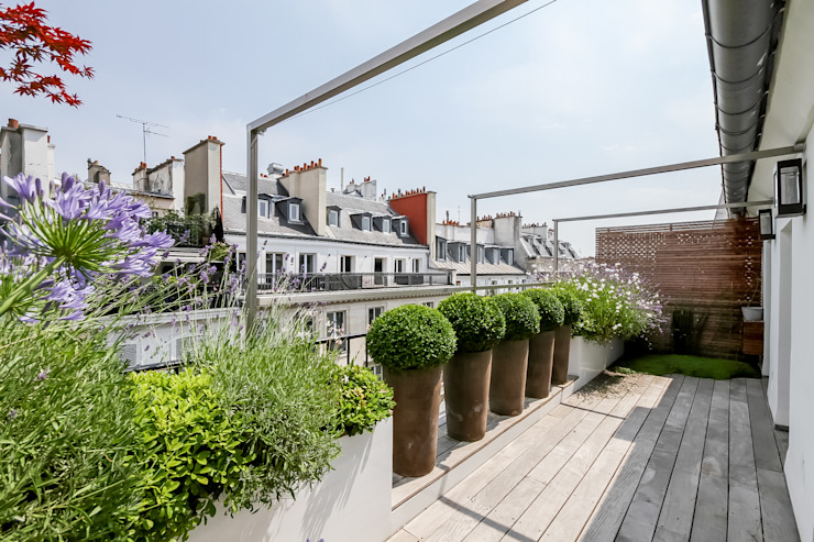 根據 Terrasses des Oliviers - Paysagiste Paris 現代風 木頭 Wood effect