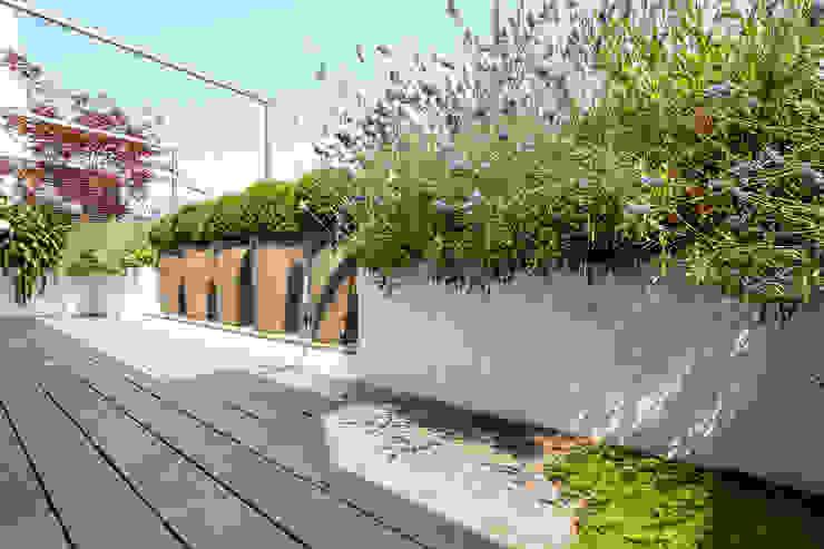 Modern balcony, veranda & terrace by Terrasses des Oliviers - Paysagiste Paris Modern