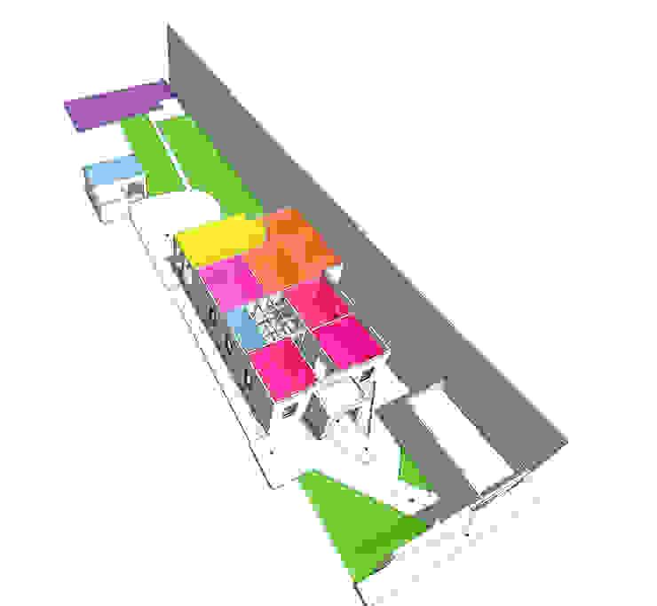 Esquema de usos y flujos de CUBO ROJO Arquitectura