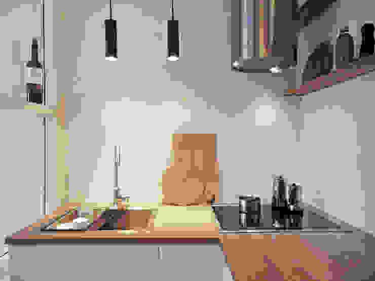 studio jan homann Nhà bếp phong cách hiện đại Gỗ White