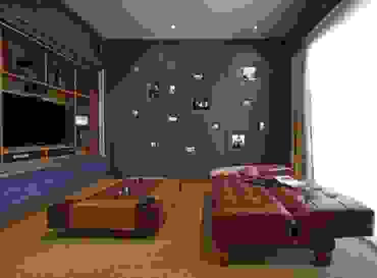 Refugio para la Pareja dentro de una Casa Estudios y oficinas modernos de Xime Russo Interiores Moderno