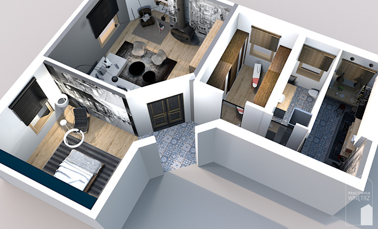 Dinding & Lantai Modern Oleh Pracownia Wnętrz Modern