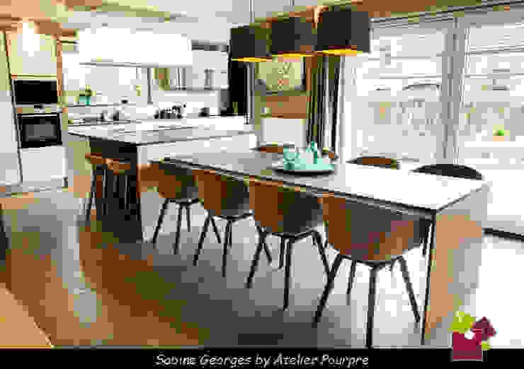 Cocinas de estilo  de Atelier Pourpre Design & Décoration SPRL, Moderno Madera Acabado en madera