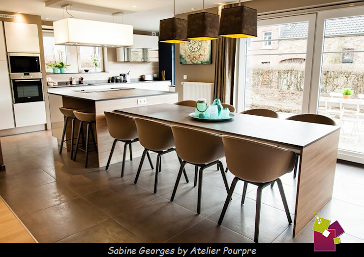 Atelier Pourpre Design & Décoration SPRL의  주방, 모던 우드 우드 그레인