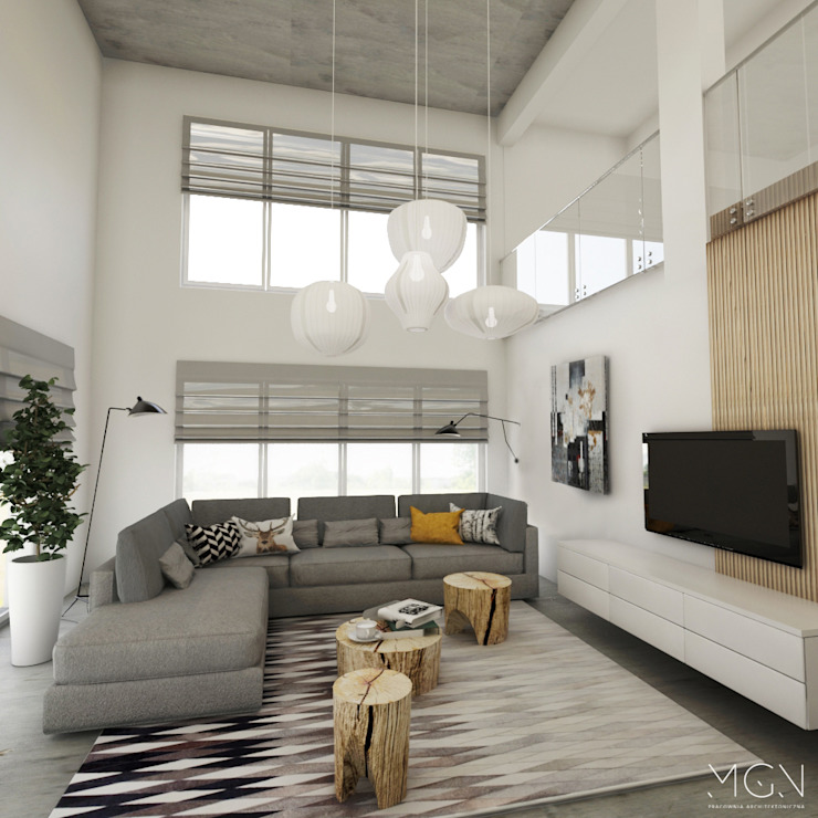 MGN Pracownia Architektoniczna Industrial style living room